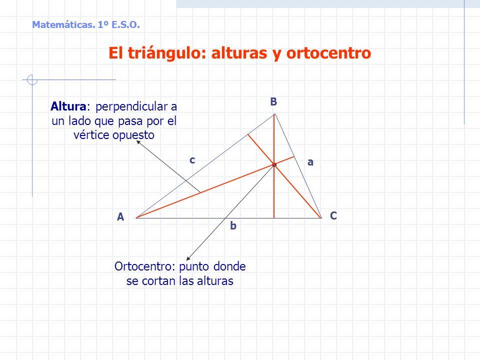 Matemáticas. 1º E.S.O. Tipos de triángulos según sus lados Equilátero: los tres lados son iguales Isósceles: dos lados iguales y uno desigual Escaleno