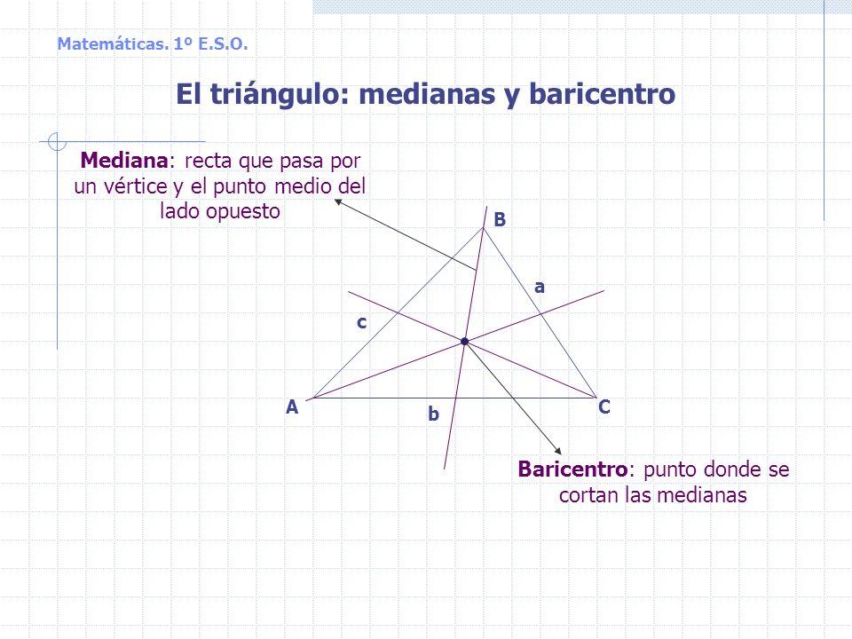 CA B a b c El triángulo: mediatrices y circuncentro Circuncentro: punto donde se cortan las mediatrices Mediatriz: recta perpendicular a cada lado que