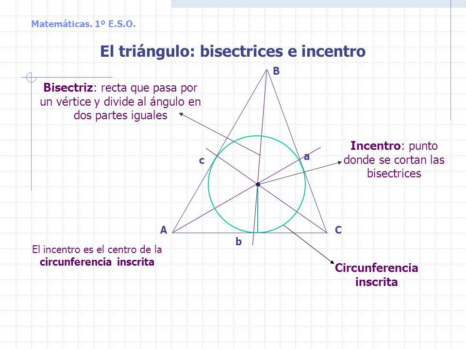 Matemáticas. 1º E.S.O. CA B a b c El triángulo: medianas y baricentro Baricentro: punto donde se cortan las medianas Mediana: recta que pasa por un vé