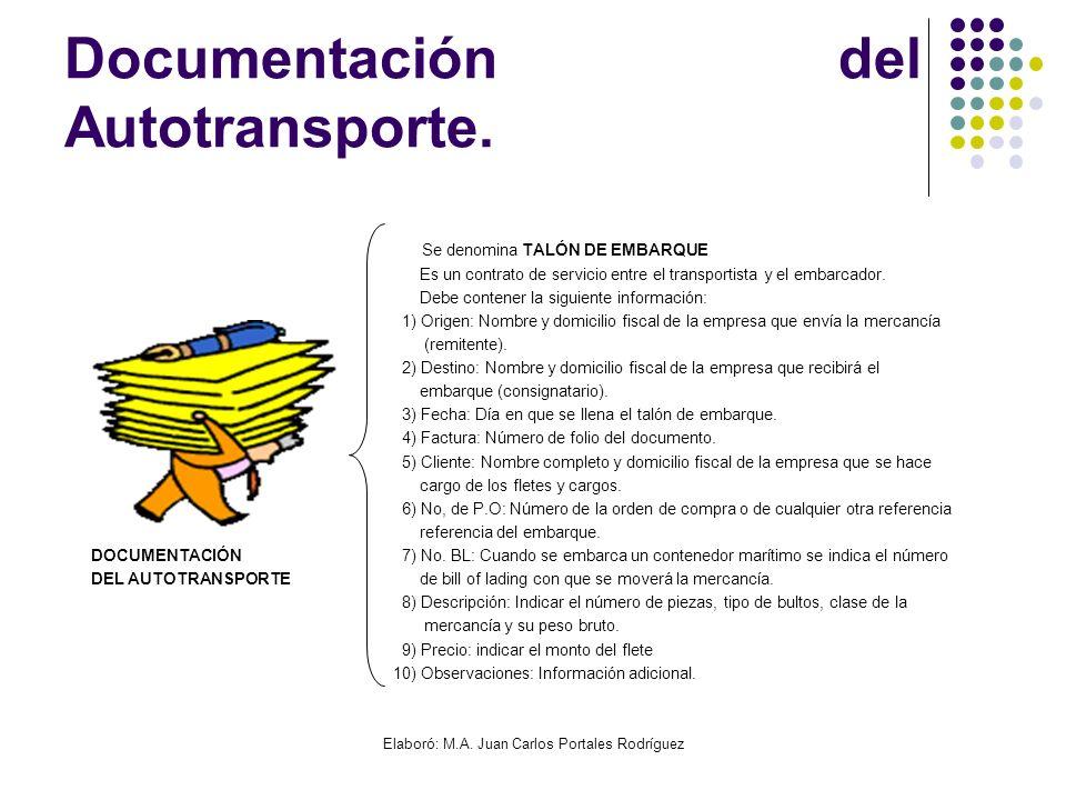 Elaboró: M.A. Juan Carlos Portales Rodríguez Documentación del Autotransporte. Se denomina TALÓN DE EMBARQUE Es un contrato de servicio entre el trans