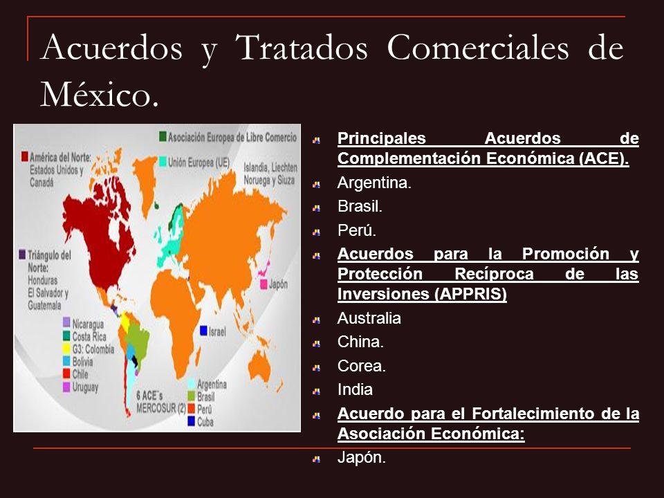 Acuerdos y Tratados Comerciales de México. Principales Acuerdos de Complementación Económica (ACE). Argentina. Brasil. Perú. Acuerdos para la Promoció