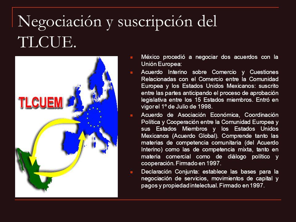 Negociación y suscripción del TLCUE. México procedió a negociar dos acuerdos con la Unión Europea: Acuerdo Interino sobre Comercio y Cuestiones Relaci