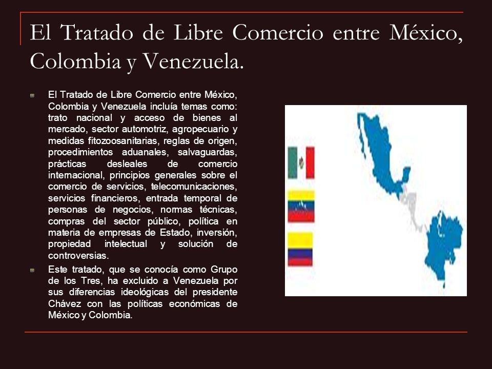 El Tratado de Libre Comercio entre México, Colombia y Venezuela. El Tratado de Libre Comercio entre México, Colombia y Venezuela incluía temas como: t