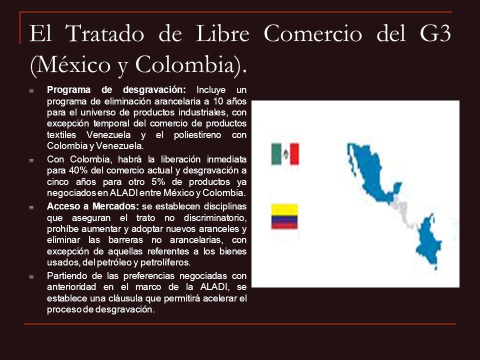 El Tratado de Libre Comercio del G3 (México y Colombia). Programa de desgravación: Incluye un programa de eliminación arancelaria a 10 años para el un