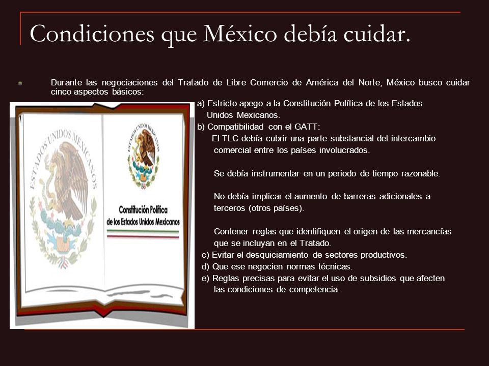 Condiciones que México debía cuidar. Durante las negociaciones del Tratado de Libre Comercio de América del Norte, México busco cuidar cinco aspectos