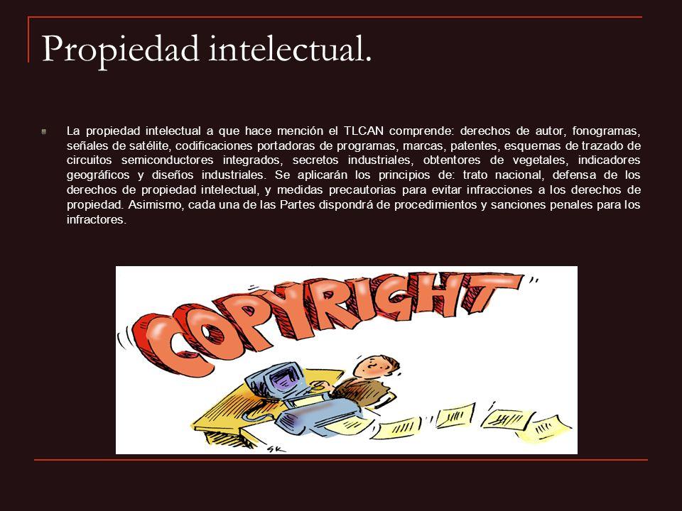 Propiedad intelectual. La propiedad intelectual a que hace mención el TLCAN comprende: derechos de autor, fonogramas, señales de satélite, codificacio