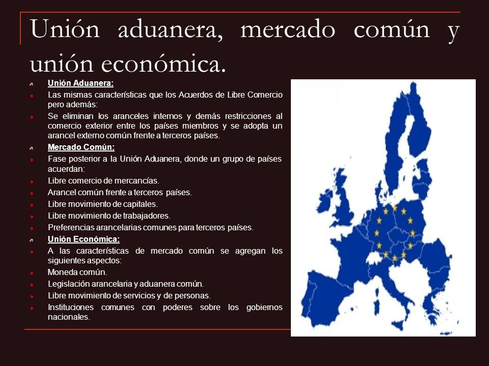 Unión aduanera, mercado común y unión económica. Unión Aduanera: Las mismas características que los Acuerdos de Libre Comercio pero además: Se elimina