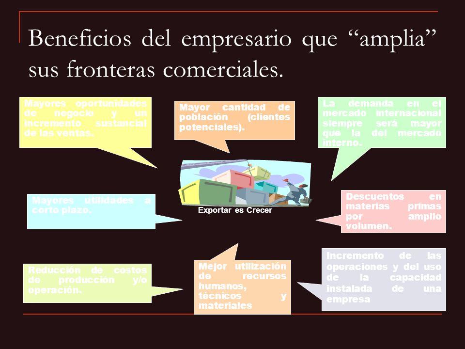 Beneficios del empresario que amplia sus fronteras comerciales. Exportar es Crecer La demanda en el mercado internacional siempre será mayor que la de