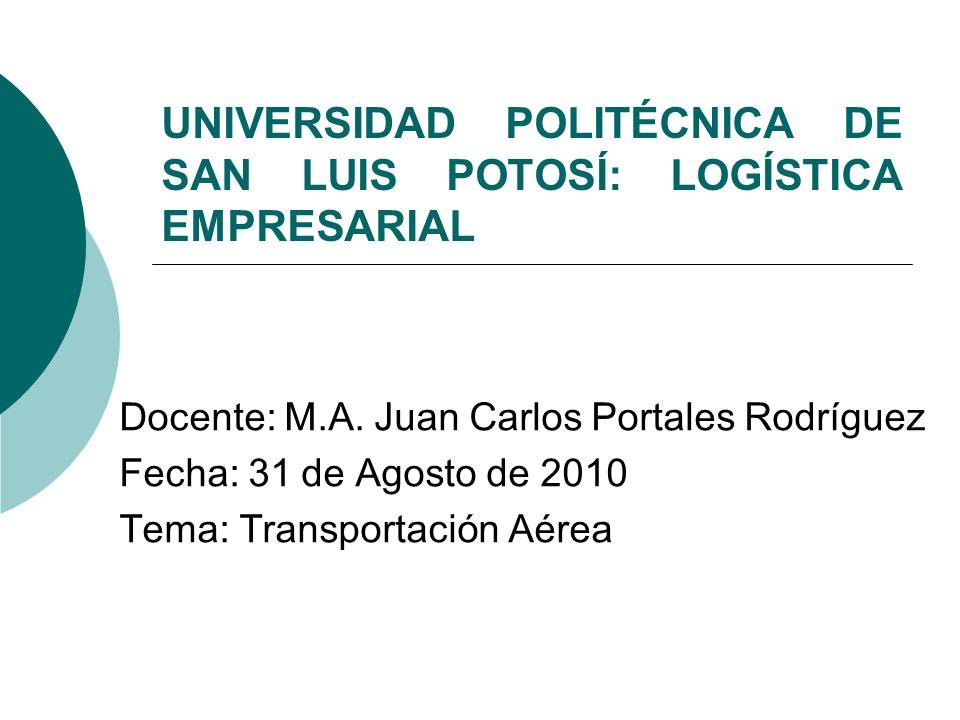 UNIVERSIDAD POLITÉCNICA DE SAN LUIS POTOSÍ: LOGÍSTICA EMPRESARIAL Docente: M.A. Juan Carlos Portales Rodríguez Fecha: 31 de Agosto de 2010 Tema: Trans