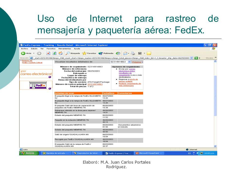 Elaboró: M.A. Juan Carlos Portales Rodríguez. Uso de Internet para rastreo de mensajería y paquetería aérea: FedEx.