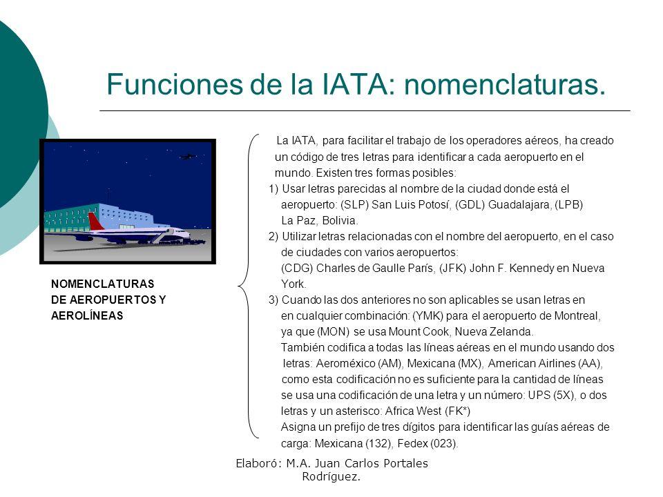 Elaboró: M.A. Juan Carlos Portales Rodríguez. Funciones de la IATA: nomenclaturas. La IATA, para facilitar el trabajo de los operadores aéreos, ha cre