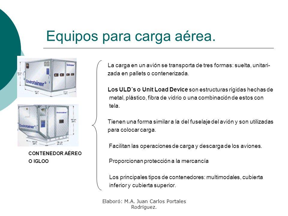Elaboró: M.A. Juan Carlos Portales Rodríguez. Equipos para carga aérea. La carga en un avión se transporta de tres formas: suelta, unitari- zada en pa
