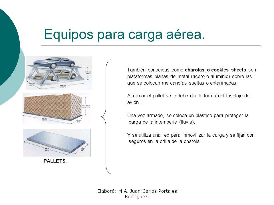 Elaboró: M.A. Juan Carlos Portales Rodríguez. Equipos para carga aérea. También conocidas como charolas o cookies sheets son plataformas planas de met