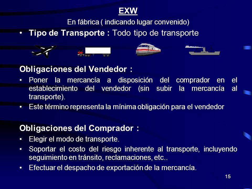 15 EXW En fábrica ( indicando lugar convenido) Tipo de Transporte : Todo tipo de transporte Obligaciones del Vendedor : Poner la mercancía a disposici