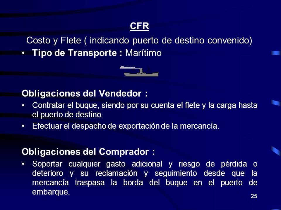 25 CFR Costo y Flete ( indicando puerto de destino convenido) Tipo de Transporte : Marítimo Obligaciones del Vendedor : Contratar el buque, siendo por