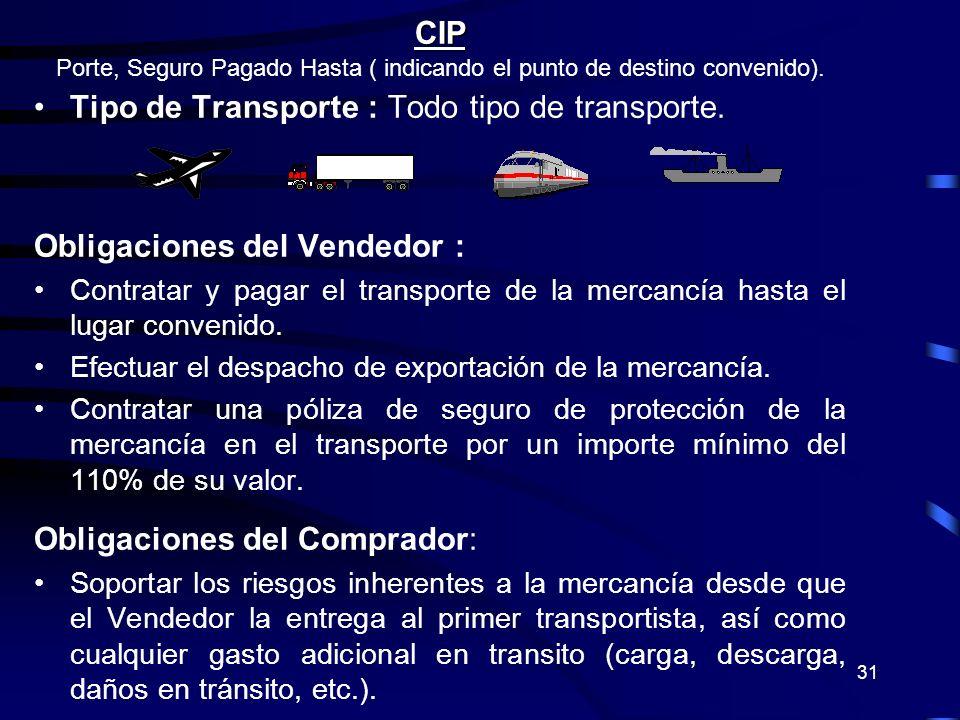 31 CIP Porte, Seguro Pagado Hasta ( indicando el punto de destino convenido). Tipo de Transporte : Todo tipo de transporte. Obligaciones del Vendedor