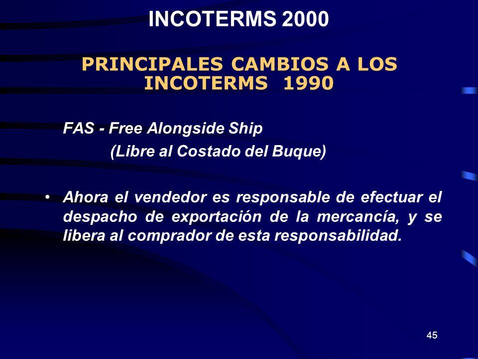 45 FAS - Free Alongside Ship (Libre al Costado del Buque) Ahora el vendedor es responsable de efectuar el despacho de exportación de la mercancía, y s