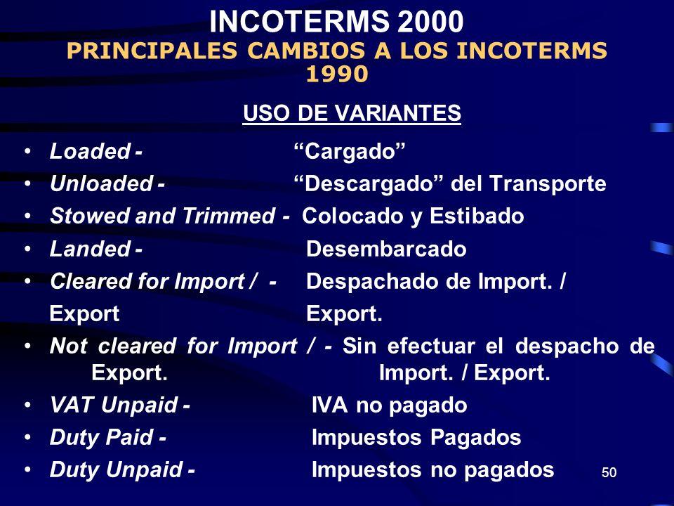 50 USO DE VARIANTES Loaded - Cargado Unloaded - Descargado del Transporte Stowed and Trimmed - Colocado y Estibado Landed - Desembarcado Cleared for I