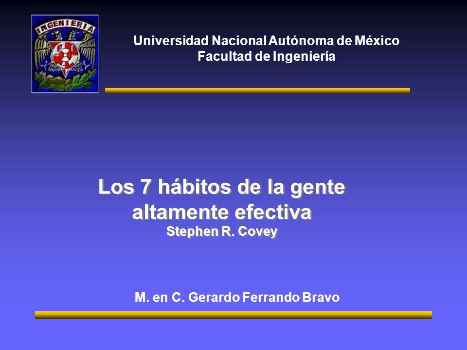 Universidad Nacional Autónoma de México Facultad de Ingeniería Los 7 hábitos de la gente altamente efectiva Stephen R.