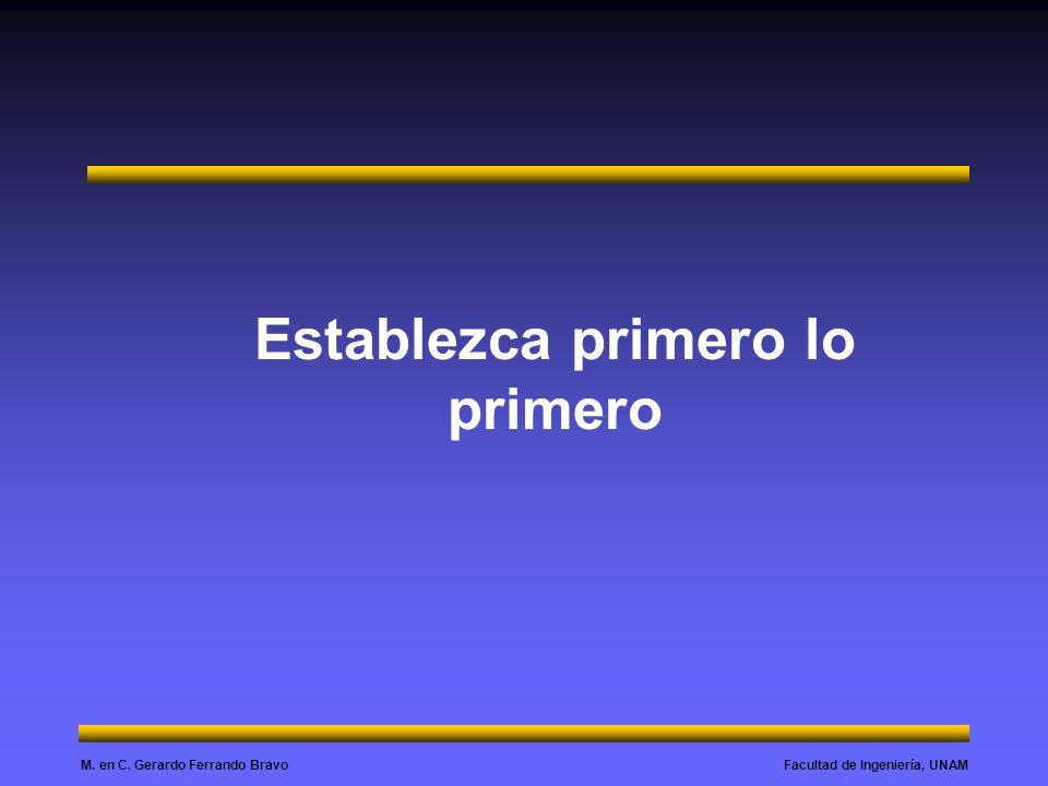 Facultad de Ingeniería, UNAMM. en C. Gerardo Ferrando Bravo Establezca primero lo primero