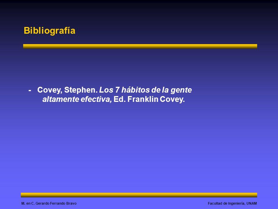 Facultad de Ingeniería, UNAMM.en C. Gerardo Ferrando Bravo Bibliografía - Covey, Stephen.