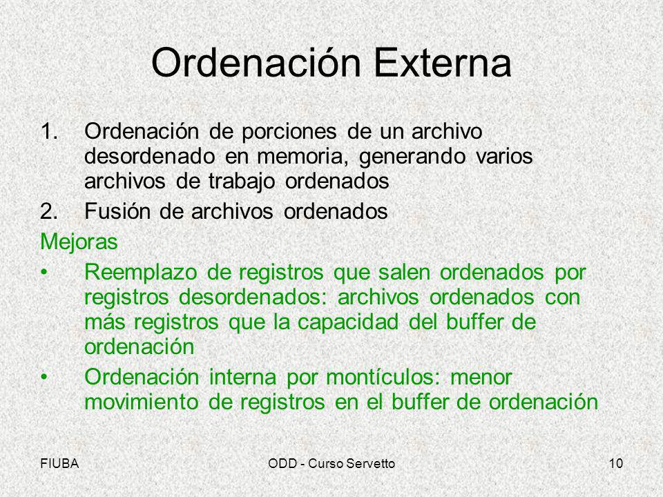 FIUBAODD - Curso Servetto10 Ordenación Externa 1.Ordenación de porciones de un archivo desordenado en memoria, generando varios archivos de trabajo or