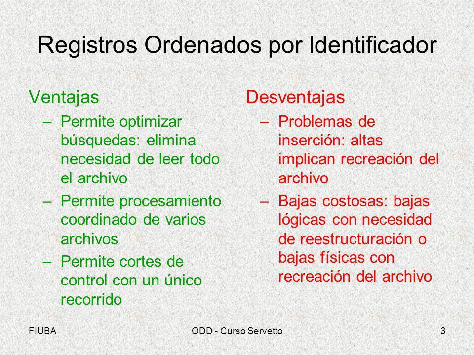FIUBAODD - Curso Servetto3 Registros Ordenados por Identificador Ventajas –Permite optimizar búsquedas: elimina necesidad de leer todo el archivo –Per