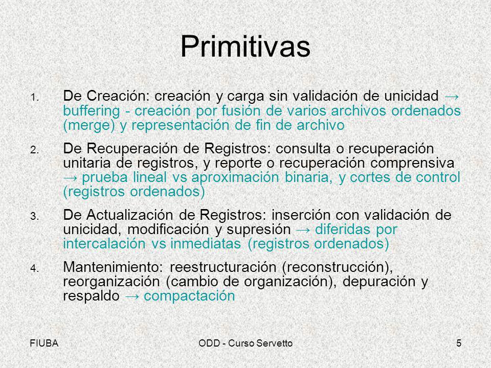 FIUBAODD - Curso Servetto5 Primitivas 1. De Creación: creación y carga sin validación de unicidad buffering - creación por fusión de varios archivos o