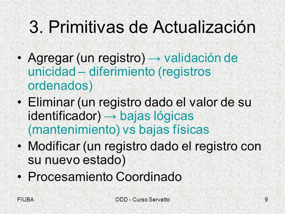 FIUBAODD - Curso Servetto9 3. Primitivas de Actualización Agregar (un registro) validación de unicidad – diferimiento (registros ordenados) Eliminar (