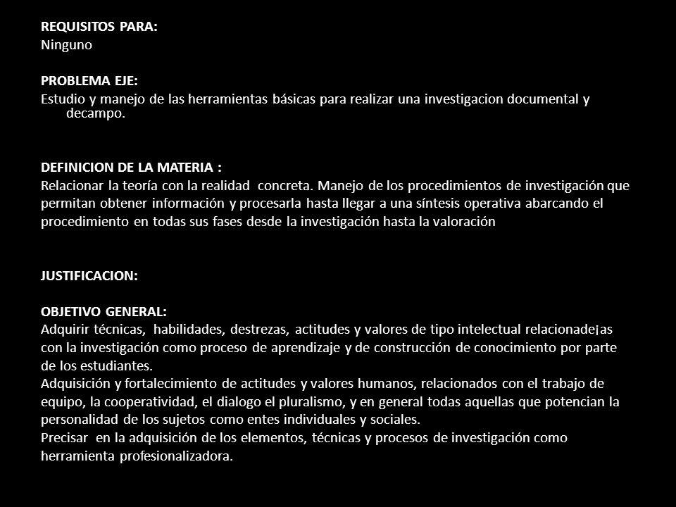 REQUISITOS PARA: Ninguno PROBLEMA EJE: Estudio y manejo de las herramientas básicas para realizar una investigacion documental y decampo. DEFINICION D