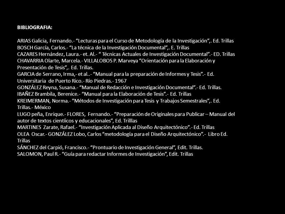 BIBLIOGRAFIA: ARIAS Galicia, Fernando.- Lecturas para el Curso de Metodología de la Investigación,. Ed. Trillas BOSCH García, Carlos.- La técnica de l