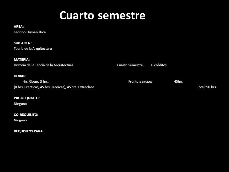 Cuarto semestre AREA: Teórico-Humanística SUB AREA : Teoría de la Arquitectura MATERIA: Historia de la Teoría de la Arquitectura Cuarto Semestre, 6 cr
