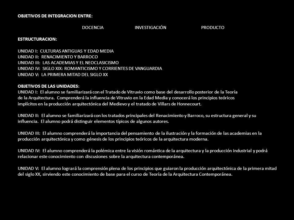 OBJETIVOS DE INTEGRACION ENTRE: DOCENCIA INVESTIGACIÓN PRODUCTO ESTRUCTURACION: UNIDAD I: CULTURAS ANTIGUAS Y EDAD MEDIA UNIDAD II: RENACIMIENTO Y BAR