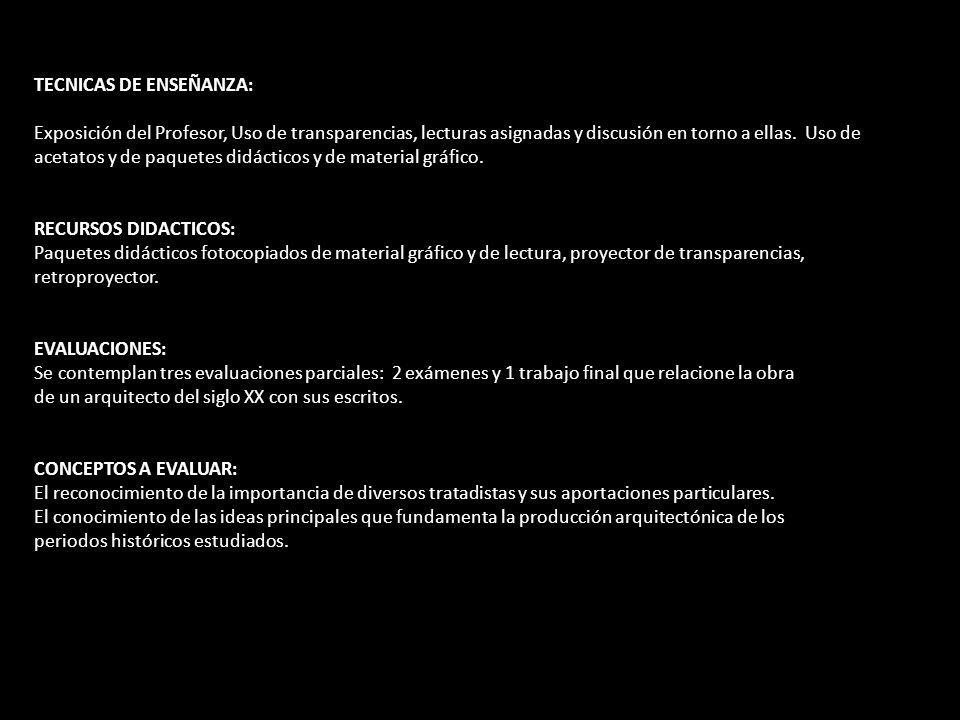 TECNICAS DE ENSEÑANZA: Exposición del Profesor, Uso de transparencias, lecturas asignadas y discusión en torno a ellas. Uso de acetatos y de paquetes