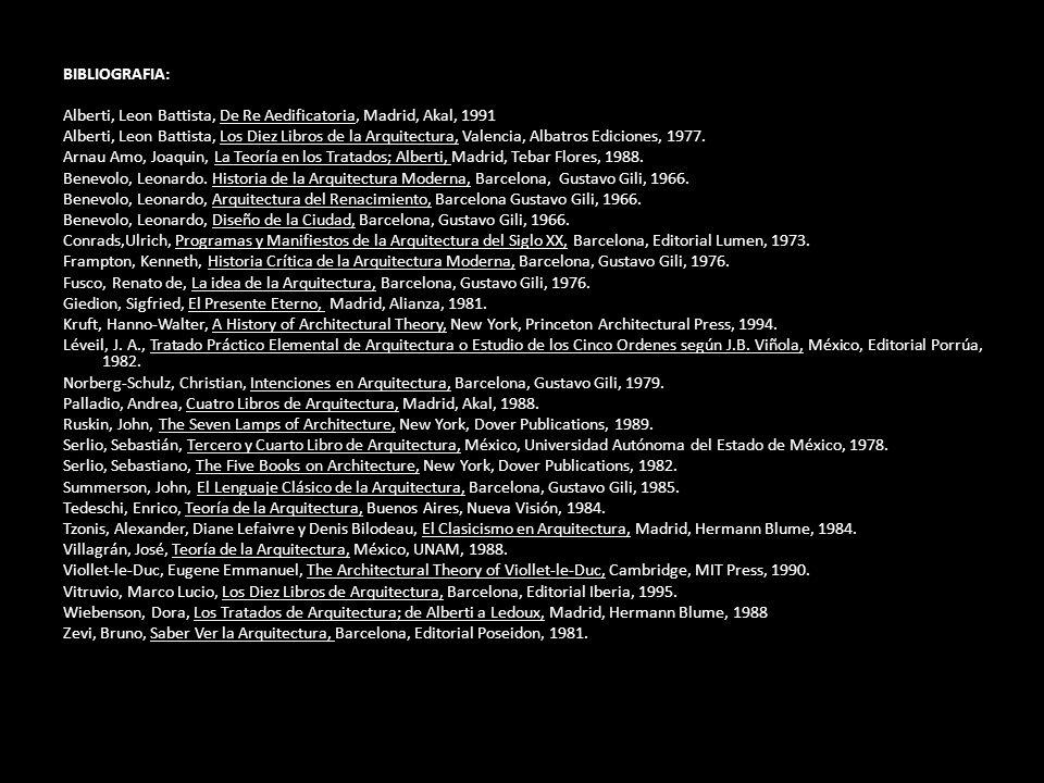 BIBLIOGRAFIA: Alberti, Leon Battista, De Re Aedificatoria, Madrid, Akal, 1991 Alberti, Leon Battista, Los Diez Libros de la Arquitectura, Valencia, Al
