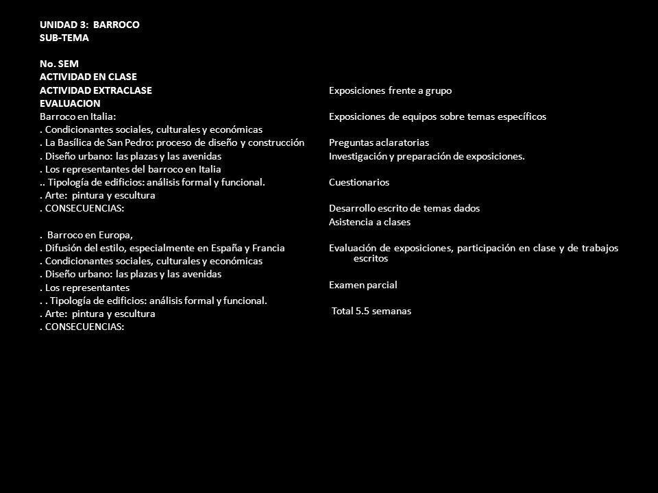 UNIDAD 3: BARROCO SUB-TEMA No. SEM ACTIVIDAD EN CLASE ACTIVIDAD EXTRACLASE EVALUACION Barroco en Italia:. Condicionantes sociales, culturales y económ
