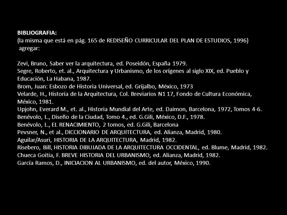 BIBLIOGRAFIA: (la misma que está en pág. 165 de REDISEÑO CURRICULAR DEL PLAN DE ESTUDIOS, 1996) agregar: Zevi, Bruno, Saber ver la arquitectura, ed. P