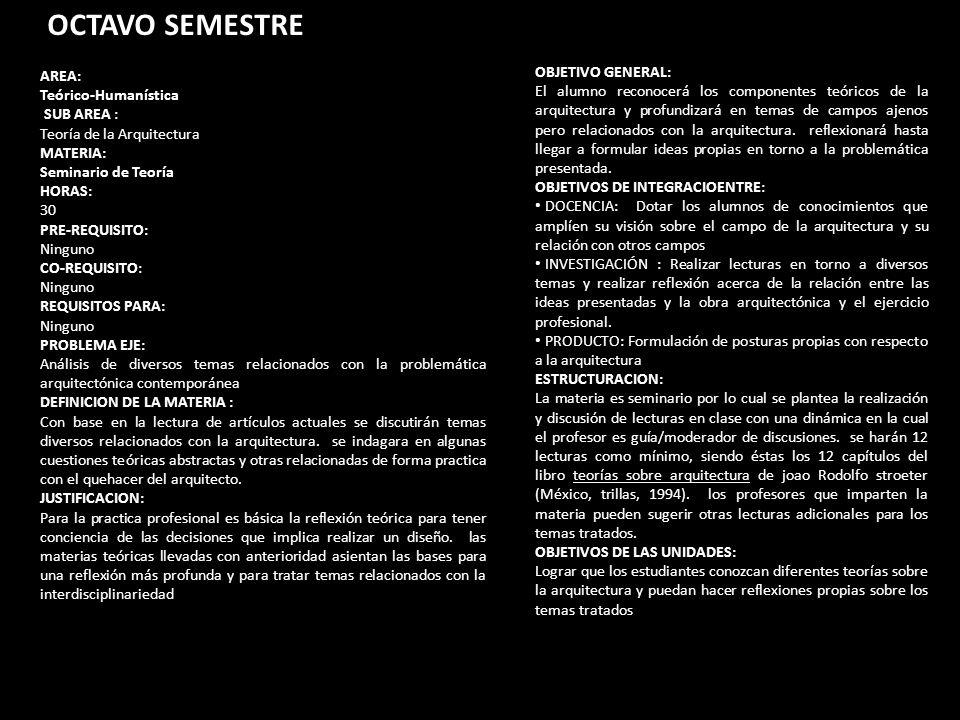 OCTAVO SEMESTRE AREA: Teórico-Humanística SUB AREA : Teoría de la Arquitectura MATERIA: Seminario de Teoría HORAS: 30 PRE-REQUISITO: Ninguno CO-REQUIS