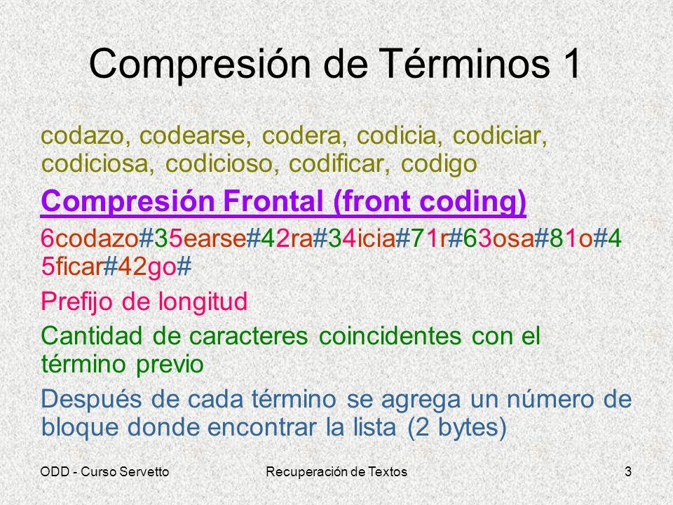 ODD - Curso ServettoRecuperación de Textos3 Compresión de Términos 1 codazo, codearse, codera, codicia, codiciar, codiciosa, codicioso, codificar, cod