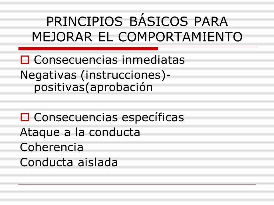 PRINCIPIOS BÁSICOS PARA MEJORAR EL COMPORTAMIENTO Consecuencias inmediatas Negativas (instrucciones)- positivas(aprobación Consecuencias específicas A
