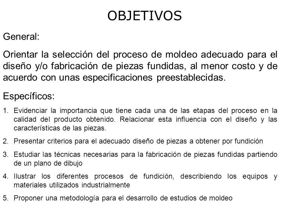 OBJETIVOS General: Orientar la selección del proceso de moldeo adecuado para el diseño y/o fabricación de piezas fundidas, al menor costo y de acuerdo