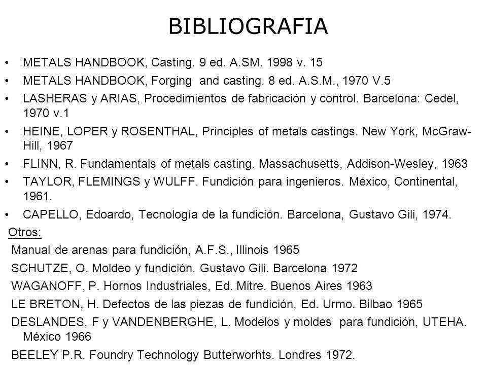 METALS HANDBOOK, Casting. 9 ed. A.SM. 1998 v. 15 METALS HANDBOOK, Forging and casting. 8 ed. A.S.M., 1970 V.5 LASHERAS y ARIAS, Procedimientos de fabr