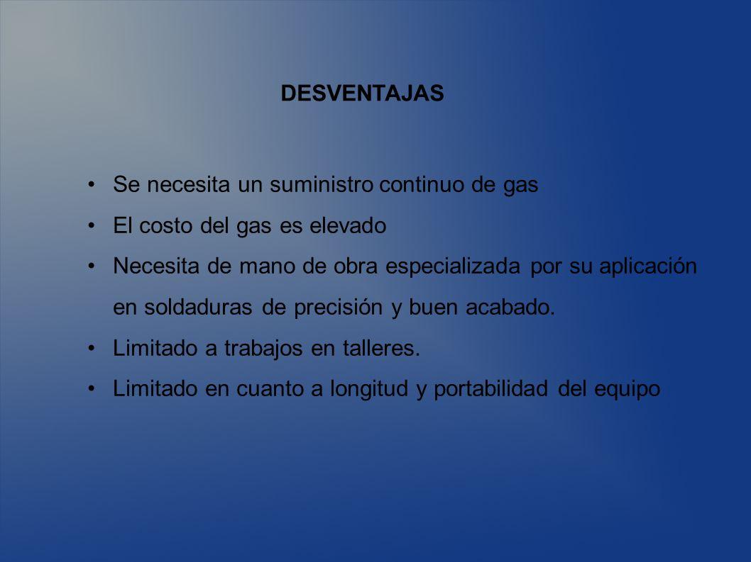 DESVENTAJAS Se necesita un suministro continuo de gas El costo del gas es elevado Necesita de mano de obra especializada por su aplicación en soldadur