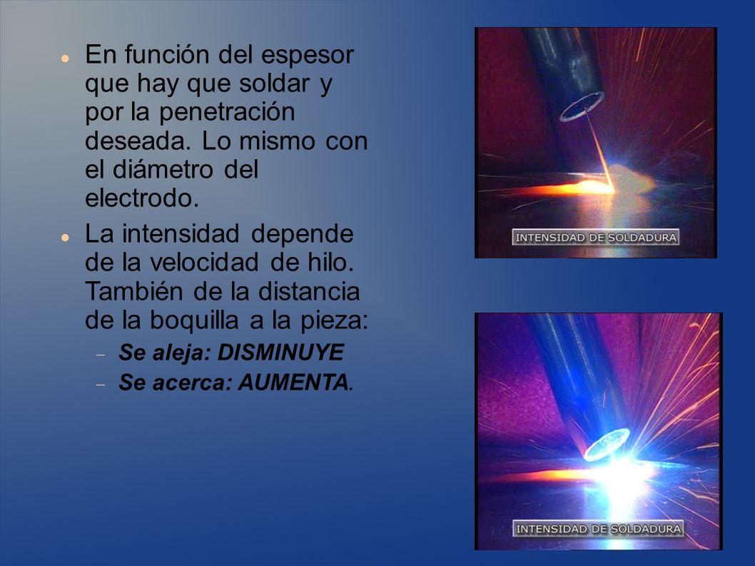 La elección del gas de protección influye en la forma del cordón, penetración de la soldadura, aspecto de la soldadura y tendencia a producir salpicaduras.