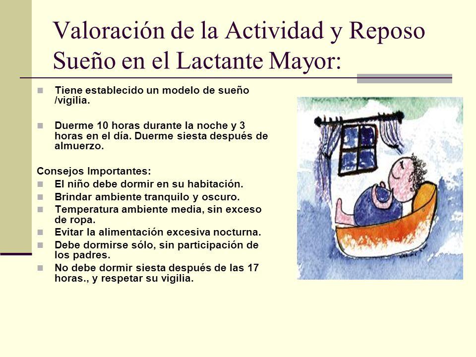 Valoración de la Actividad y Reposo Sueño en el Lactante Mayor: Tiene establecido un modelo de sueño /vigilia.