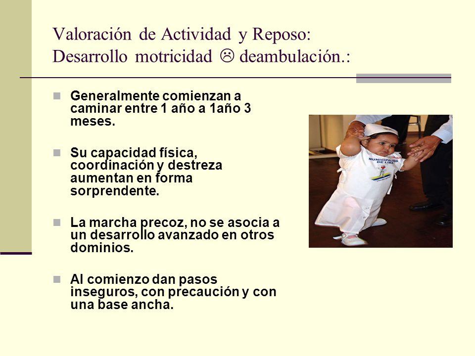 Valoración de Actividad y Reposo: Desarrollo motricidad deambulación.: Generalmente comienzan a caminar entre 1 año a 1año 3 meses.
