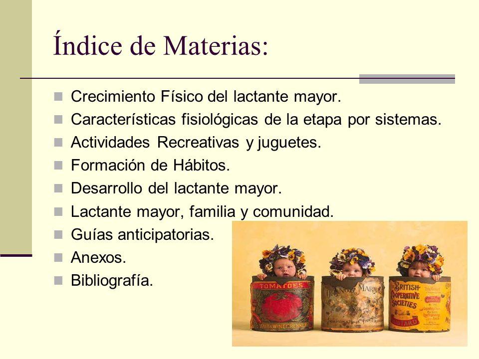 Índice de Materias: Crecimiento Físico del lactante mayor.