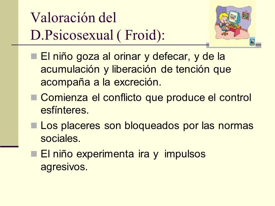 Valoración del D.Psicosexual ( Froid): El niño goza al orinar y defecar, y de la acumulación y liberación de tención que acompaña a la excreción.