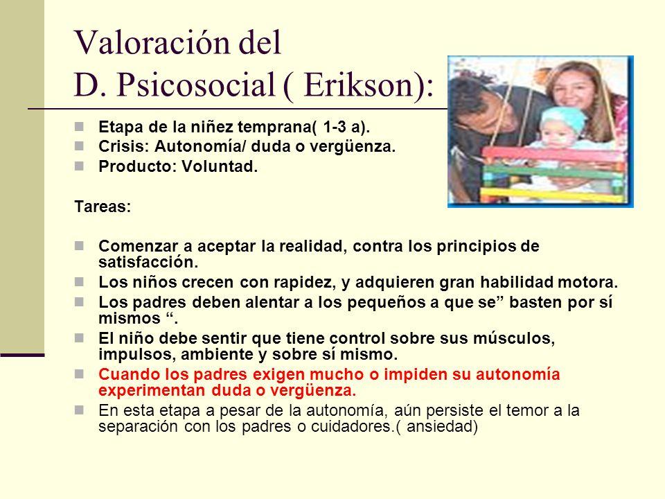 Valoración del D.Psicosocial ( Erikson): Etapa de la niñez temprana( 1-3 a).