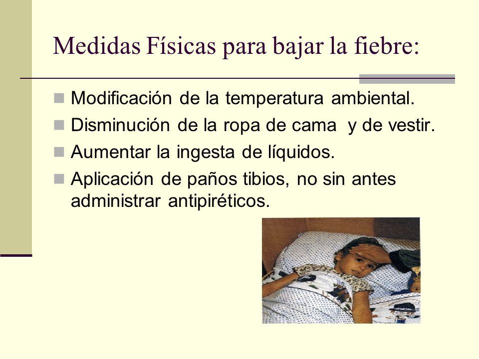 Medidas Físicas para bajar la fiebre: Modificación de la temperatura ambiental.